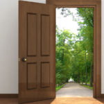 Door Opens onto Wooded park